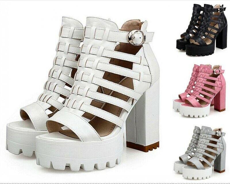 Retro femmes Buckle Gladitors Block High Heel Platform chaussures Sandals Open Toe US