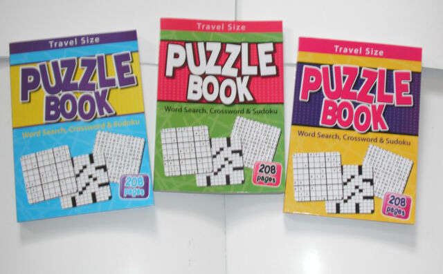 TRAVEL SIZE PUZZLE BOOK - CONTAINS WORD SEARCH, CROSSWORD & SUDOKU PUZZLES - NEW