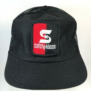 Vintage-Safety-Kleen-Snapback-Patch-Hat-Trucker-Cap-Mesh-Back-Made-In-USA-Black