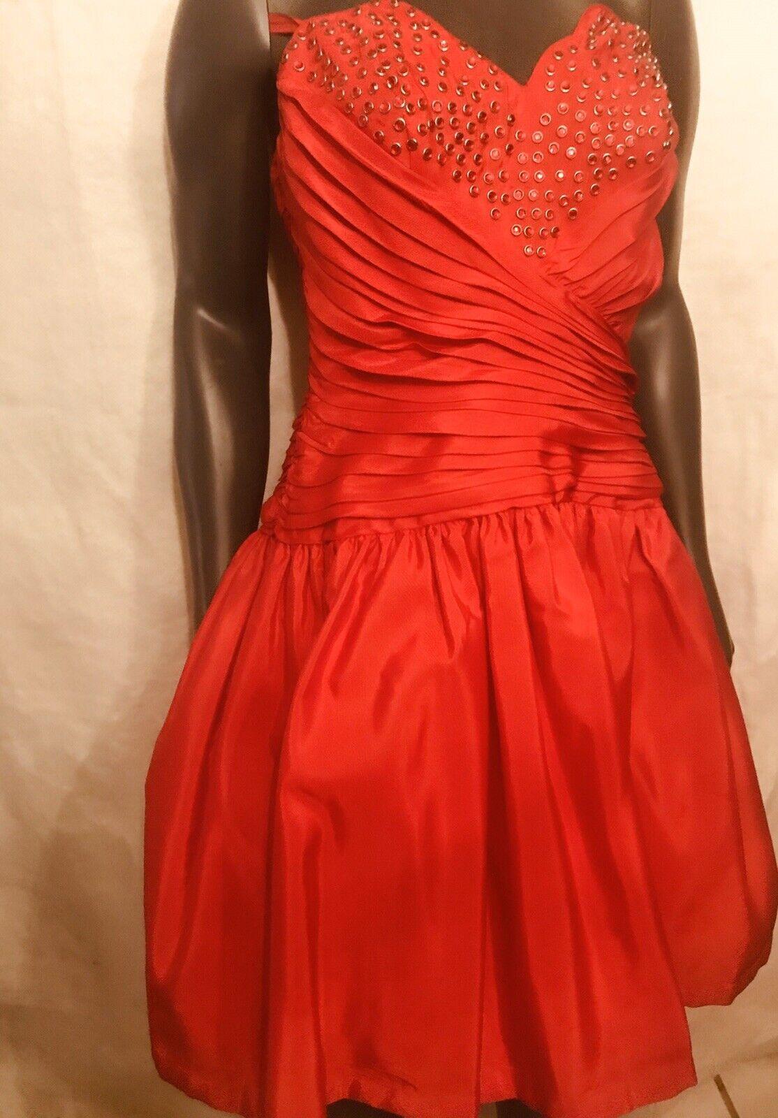 """"""" 1980s VINTAGE LILLIE RUBIN RED BUSTIER DRESS"""""""