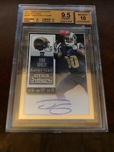 TODD-GURLEY-2015-PANINI-CONTENDERS-RC-PLAYOFF-TICKET-AUTO-61-99-BGS-9-5-GEM-10