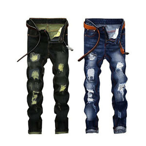 Men-039-s-Trous-Dechire-Skinny-Biker-Jeans-Detruit-Tapered-Slim-Denim-Pantalon