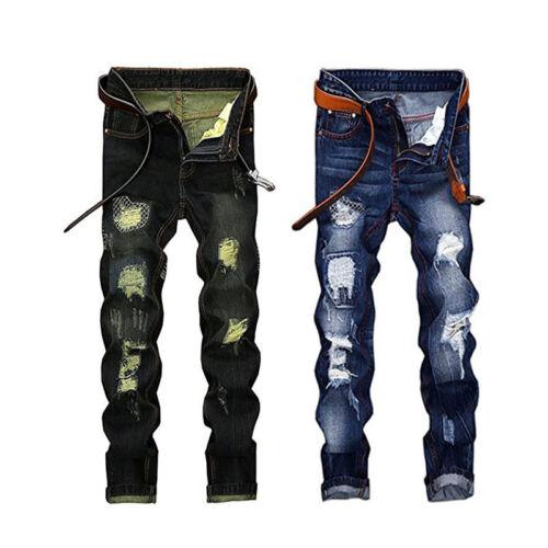 Men Dark Blue Ripped Distressed Straight Jeans Distroyed Slim Fit Denim Pants