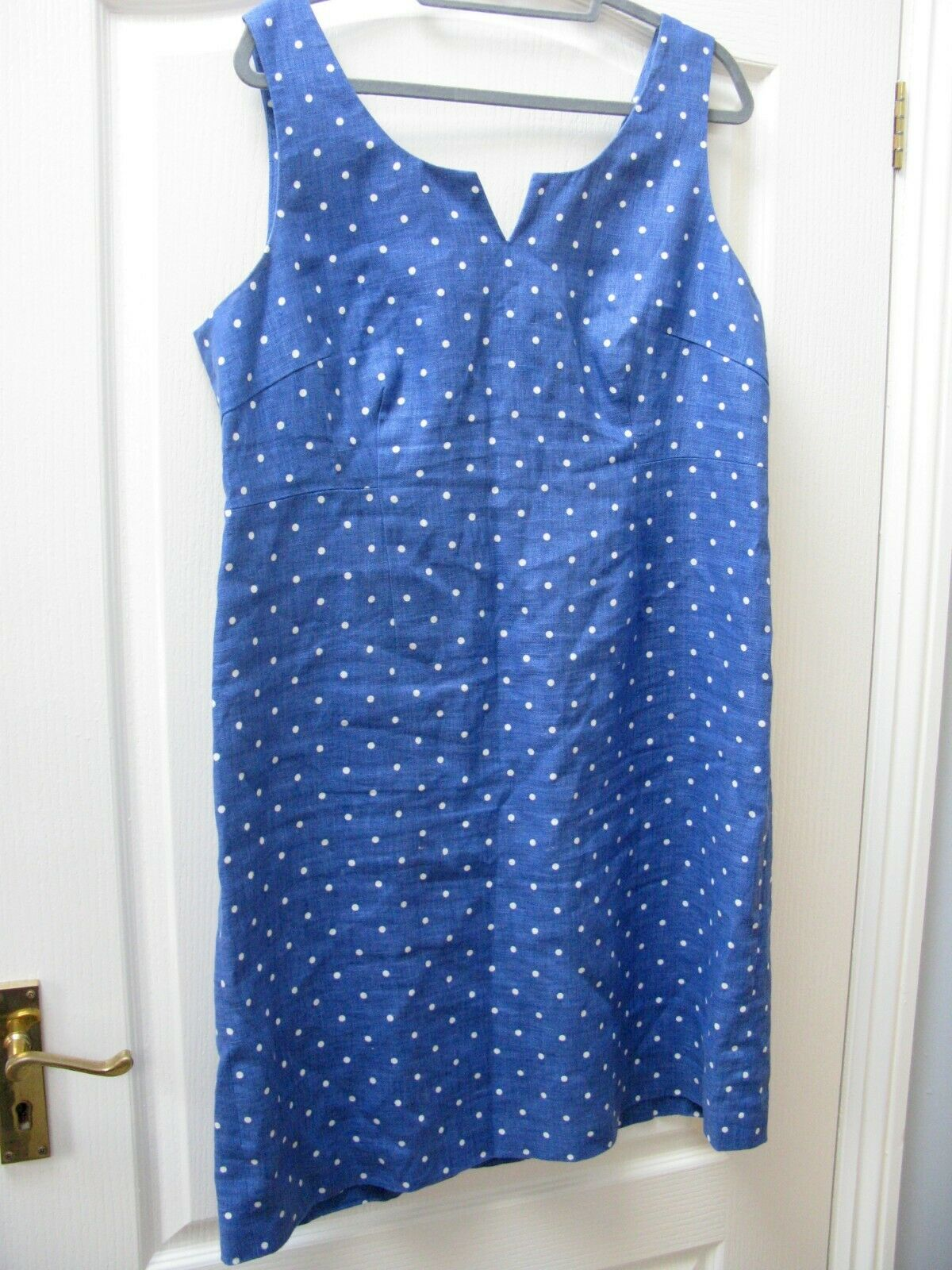 EAST 100% Linen Blue Polka Dot Shift Dress Size 16 Spot Wedding Races Holiday