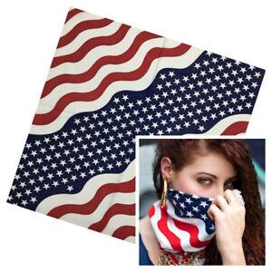Cotton-American-Bandanas-USA-Stars-Stripes-Patriotic-Hair-Head-Neckscarf-Scarf