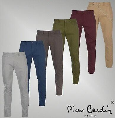 Mens Branded Pierre Cardin Stylish Regular Fit Zip Chino Trousers Size 30-40
