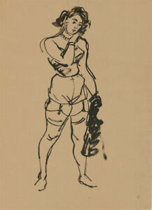 Peter Collins ARCA - 26 c.1970s India Ink, Lady in Lingerie