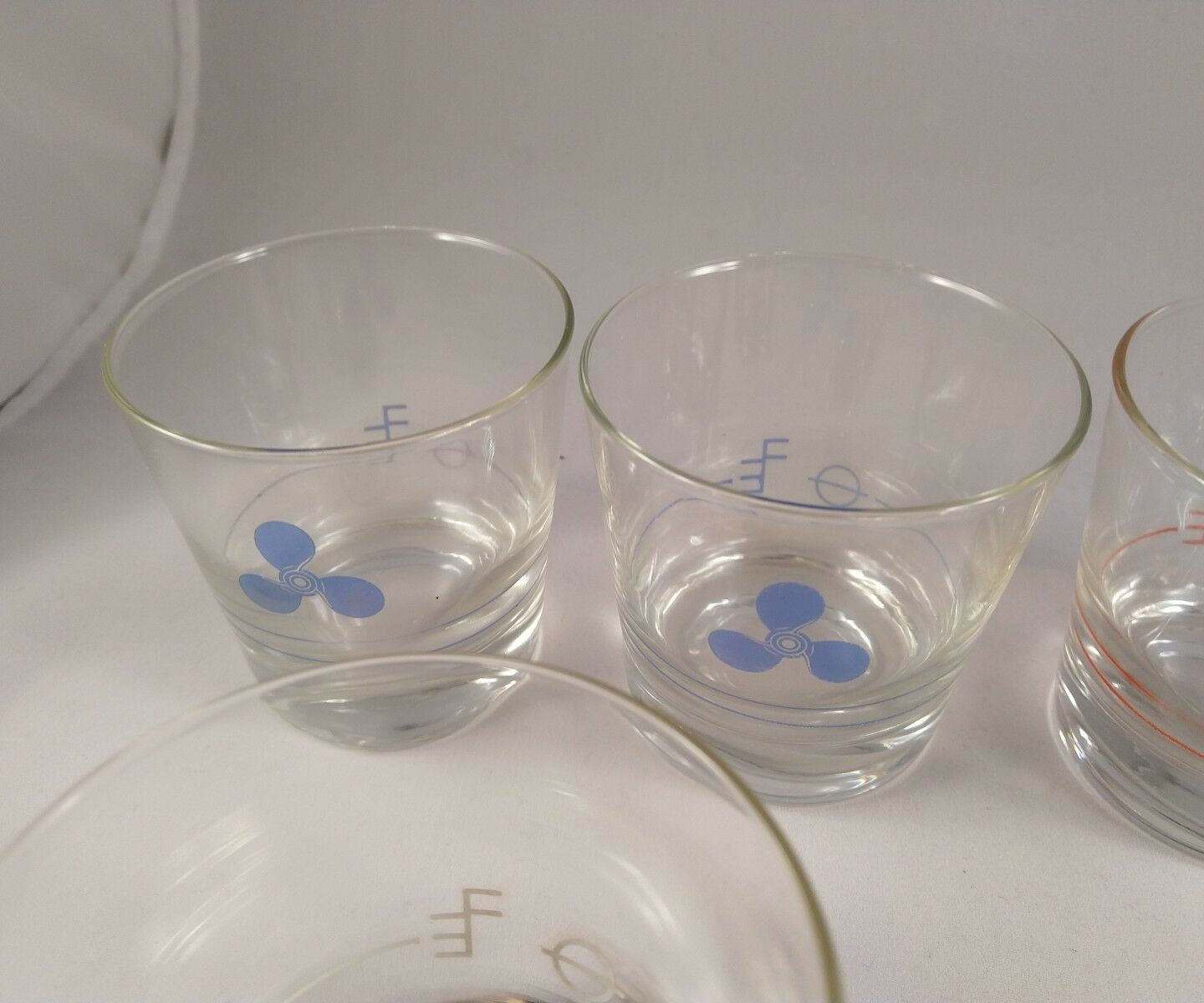 Vintage Nautical Themed Old Fashioned Glass set of of of 6. fc3053
