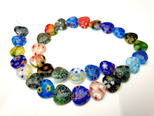 1 Strang 35 cm bunte Millefiori Herzen Glasperlen heart beads lampwork  12 mm