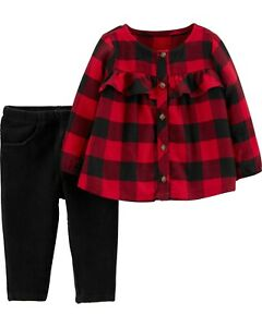 Just One You By Carters Baby Girls Buffalo Plaid Dress 3M 12M 18M #AY16