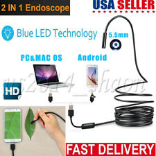 DBPower 2 in 1 2million Pixels 5 Meter USB Waterproof HD 6 LED Borescope Endoscope Inspection Tube Camera with USB Adpater for Android Device