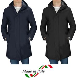 Giubbotto-Uomo-Parka-Invernale-Cappotto-Elegante-Impermeabile-Nero-Casual