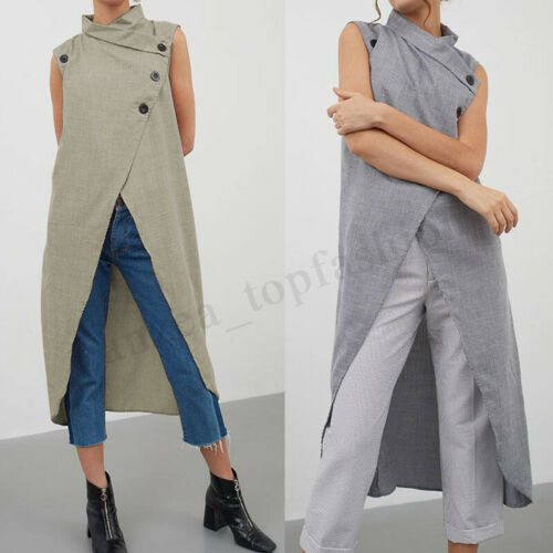 Womens Iregular Cardigan Sleeveless Sweater Sweatshirt Asymmetric Hem Tops Shirt