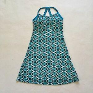 08e6586406f Prana Women Quinn Athletic Halter Shelf Bra Dress Blue Green Teal ...