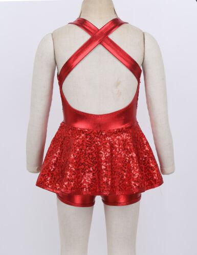 Glitzer Mädchen Tanzkleid Pailletten Hip-Hop Jazz Modern Tanz Performance Kleid