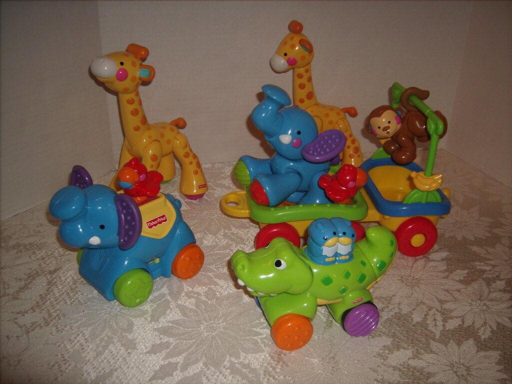 Fisher Price Amazing Animal Lot -Train Car 2 2 2 Giraffes Monkey Elephant with sound 11a1a2