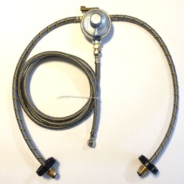 Propane Regulator 3 way valve 2 Stainless Braided Hoses and 10' hose Gas LP
