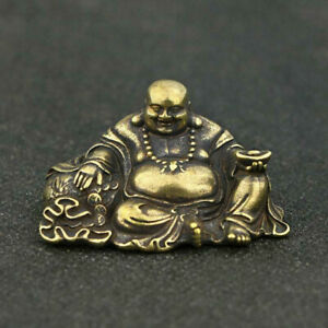 Chinese-Brass-Maitreya-Buddha-Small-Statue-Buddhism-Pocket-Xmas-Gift-Good-Luck