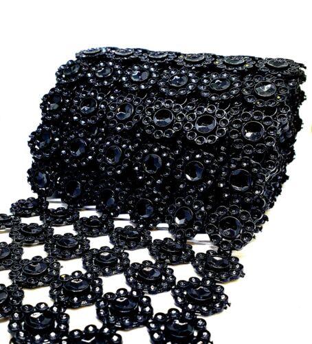 Black Diamond Flower Shape Mesh Wrap Crystal Rhinestone Sparkle Ribbon-6FT