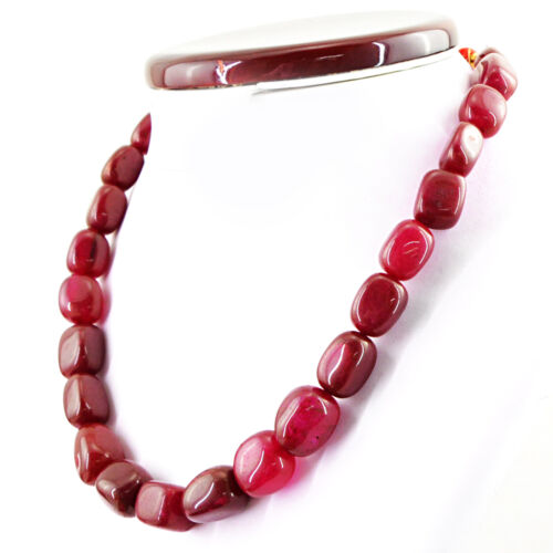 Exclusive 528.00 cts Earth mined un seul brin Riche Rouge Rubis Perles Collier