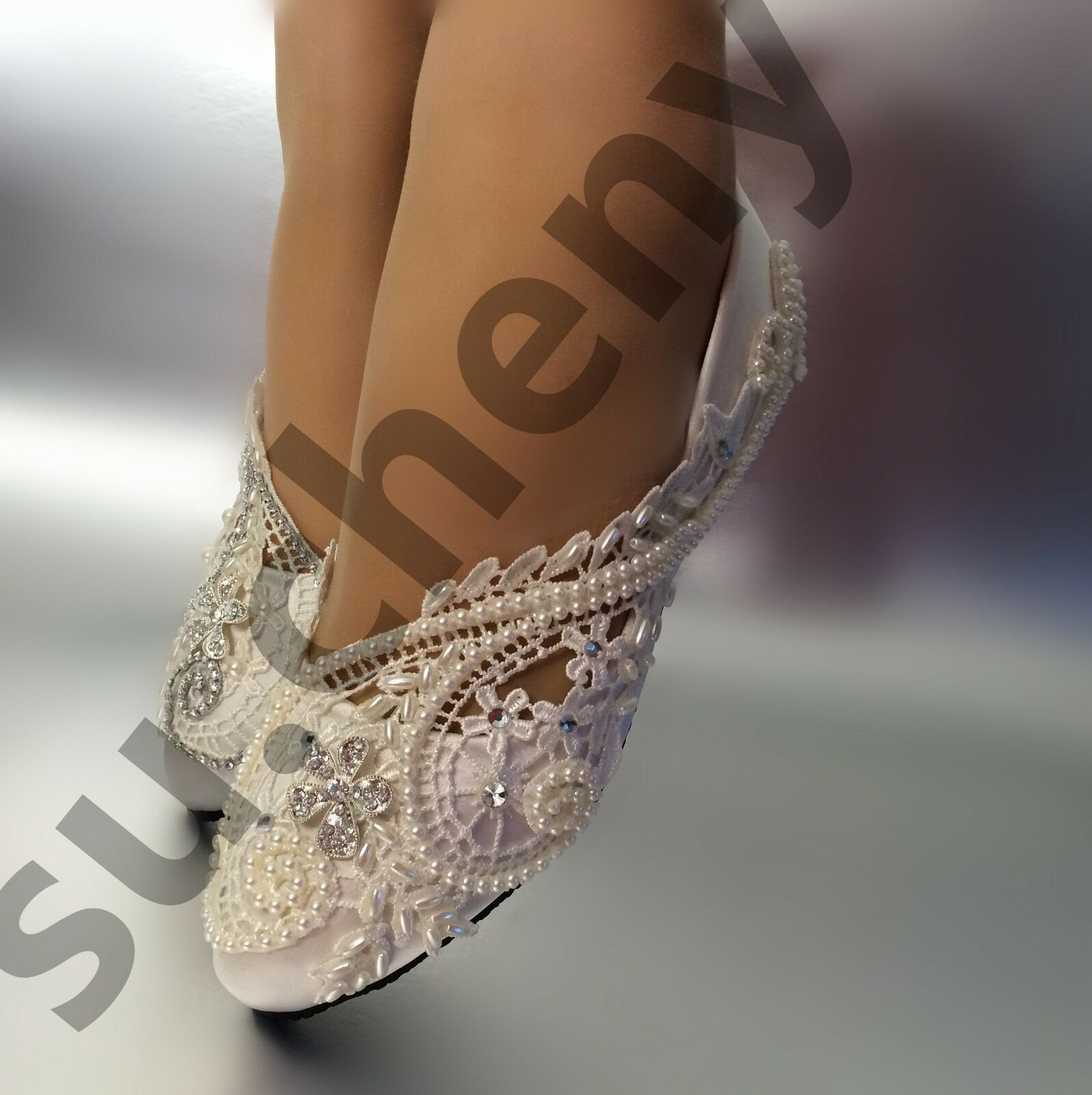Su.cheny Silk satin white ivory lace pearls rhinestone flat Wedding Bridal shoes