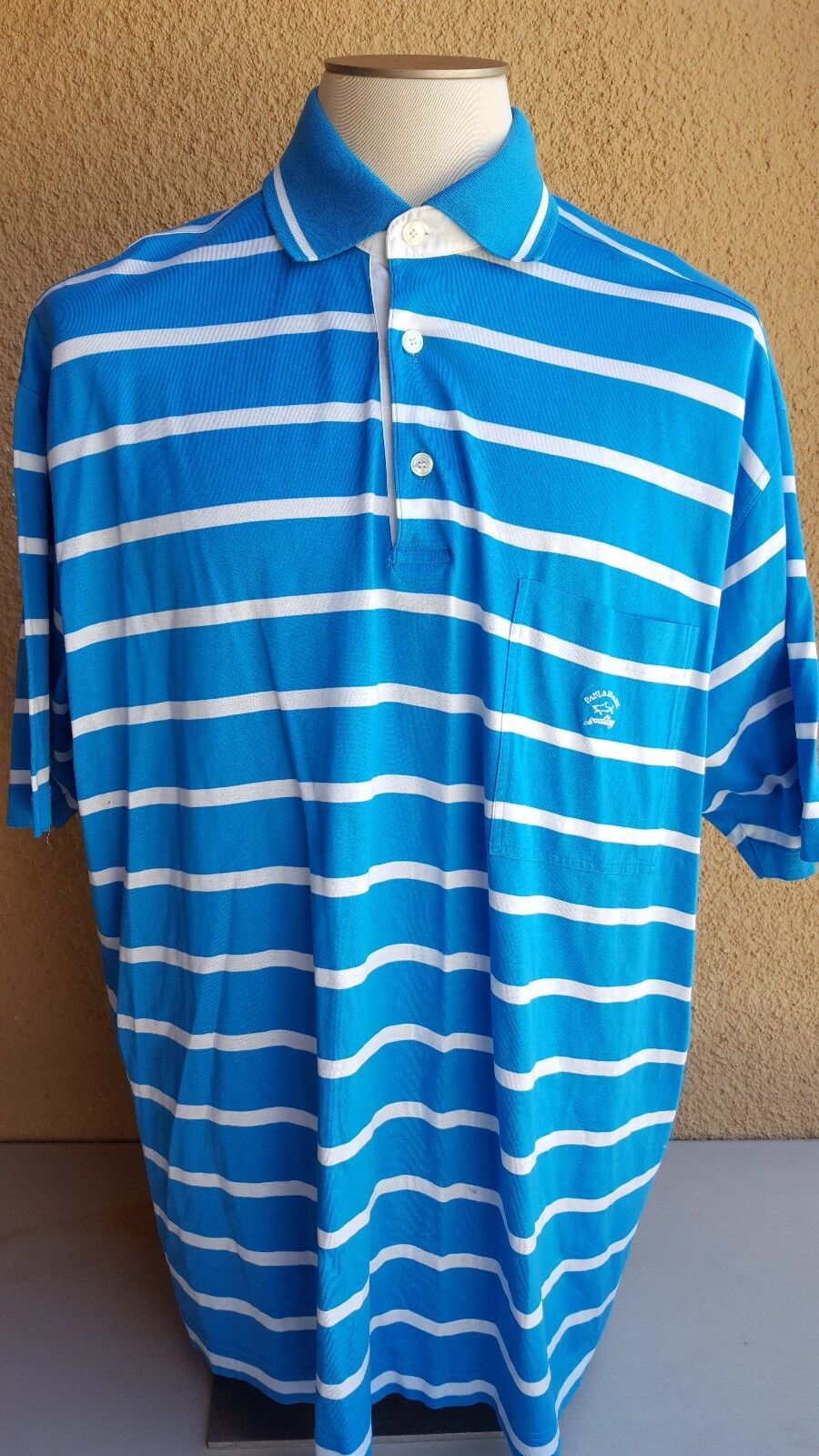 PAUL &  SHARK Yachting Men's 5XL Polo Rugby Shirt bluee-White Striped Ctn