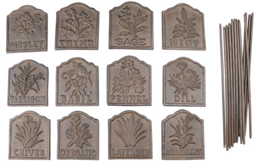 Cast Iron Soil Markers Selection of Herb Signs Rusted Effect