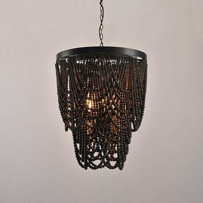 Rustic Farmhouse Dark Brown Wooden Bead Cascade 3 Light Chandelier in Matte Black