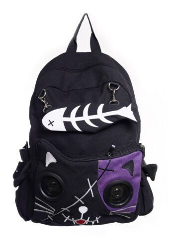 Black Gothic Emo Purple Cat Kitty Speaker Rucksack Backpack By Banned Apparel