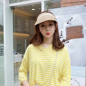 Stylish Women Sun Hats Wide Brim UV Protection Beach Visor Straw Cap ... 81bfaf54780d