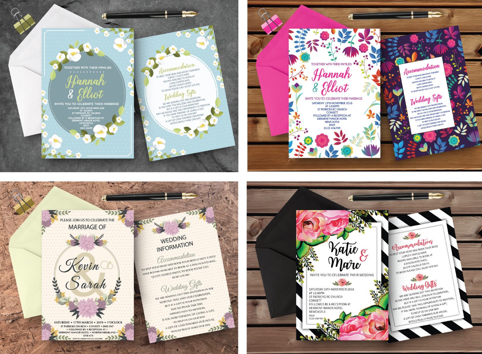 Personalised Wedding Day   Evening Invitations with Envelopes