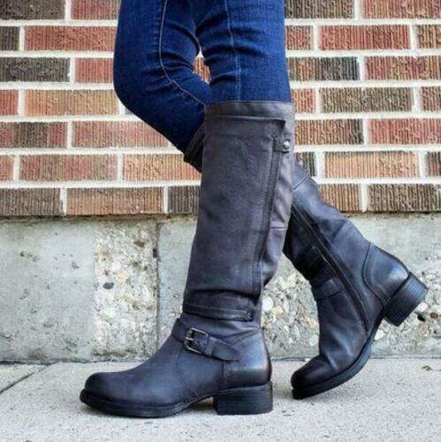 Womens Retro Knight Shoes Side Zipper Block Punk Cowboy Military Combat Riding