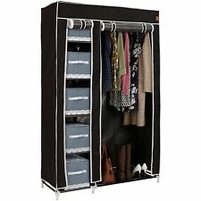VonHaus Double Canvas Wardrobe Clothes Hanging Rail Shelves Storage Black