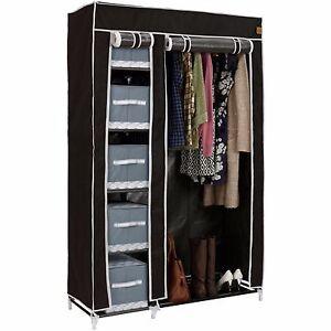 VonHaus-Double-Canvas-Wardrobe-Clothes-Hanging-Rail-Shelves-Storage-Black