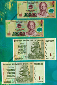 Details About 2 X 20 Billion Zimbabwe Dollars Banknotes 10 000 Vietnam Dong Currency Lot