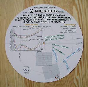Pioneer-PL-120-210-260-280-320-355-420-430-455-470-del-brazo-ALINEACIoN-PROTRACTOR