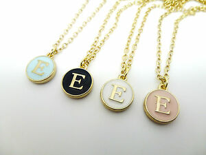 Round enamel gold letter e initial charm necklace in pink blue round enamel amp gold letter e initial charm mozeypictures Gallery