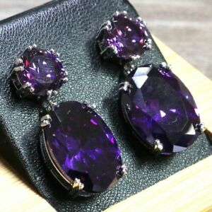 Gorgeous-Purple-Amethyst-Earrings-Drop-Dangle-Women-Engagement-Jewelry-14K-Plate