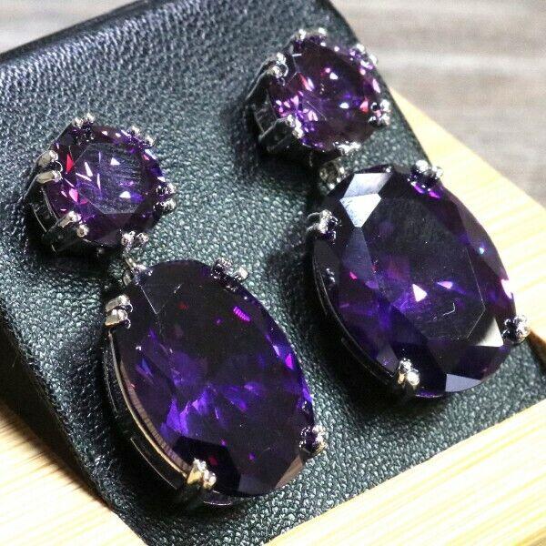 Gorgeous Purple Amethyst Earrings Drop Dangle Women Engagement Jewelry 14K Plate