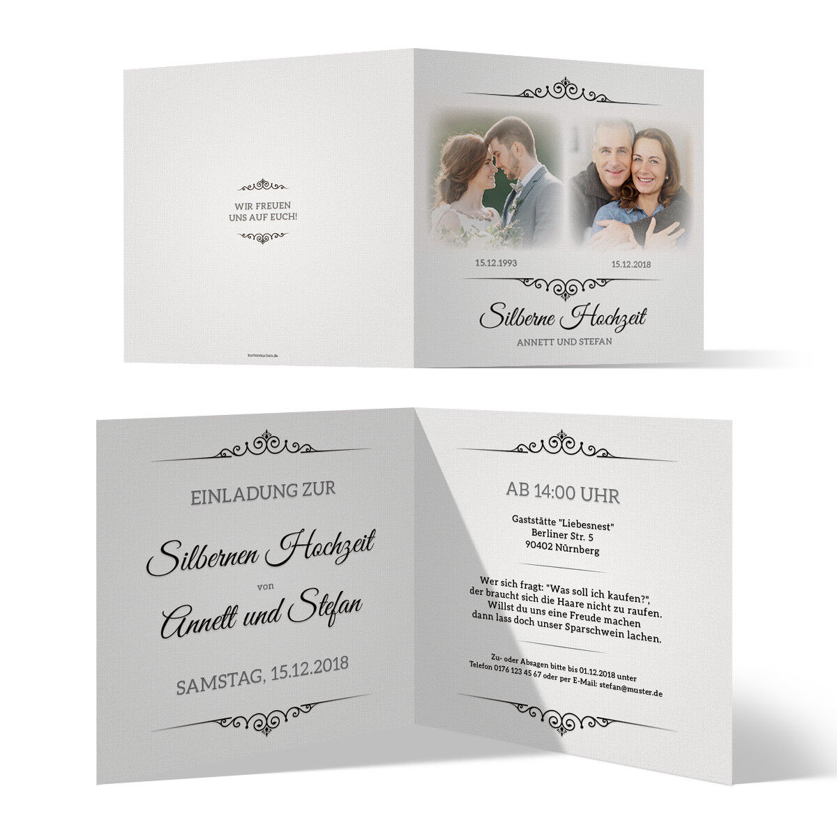 Silberne Hochzeit Einladungskarten Silberhochzeit 25 Jahre - Zeitsprung | Stilvoll und lustig  | Qualitativ Hochwertiges Produkt