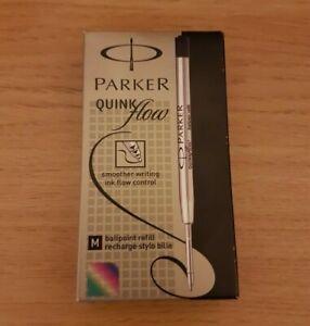 2 Pack Genuine Parker Ballpoint Refill BLACK Biro Medium Quink Flow Ball Pen