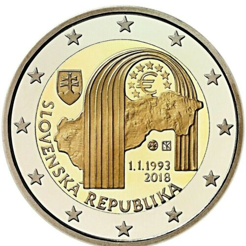 SLOVAKIA 2 EURO 2018-25th Anniversary Formation Slovak Republic UNC NEW COIN