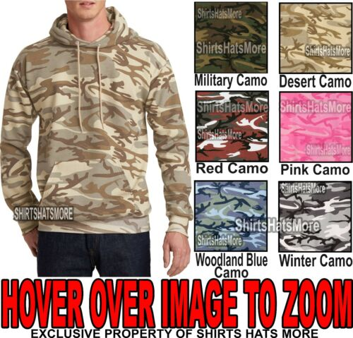 Mens Camo Pullover Hooded Sweatshirt Hoodie Cotton//Poly Hoody S M L XL 2X 3X 4X