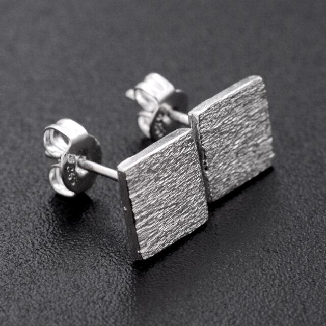 Fashion Cute Women 925 Sterling Silver Square Frosted Ear Stud Earrings Gift
