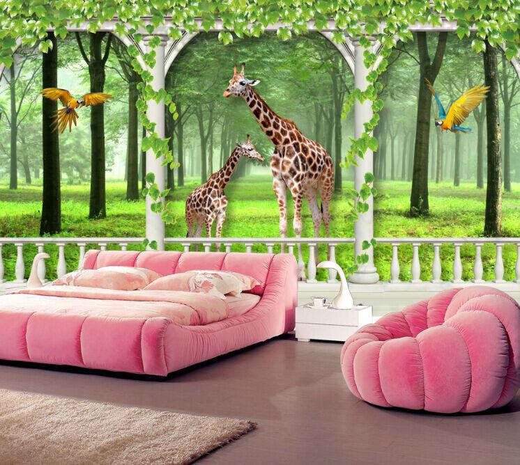 3D Giraffe, Papageien 202 Fototapeten Wandbild Fototapete BildTapete Familie DE