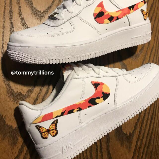 Nike Air Force 1 Size 6.5y Kids (8 Women) Custom White Orange Camo Butterfly