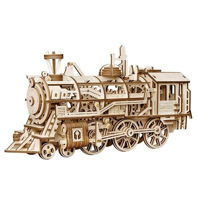 Wooden Train Model 3D Puzzle DIY Building Kit Locomotive Educational Toy Kids