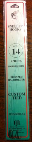 Fishing Supplies Snelled Bronze Hooks size 14