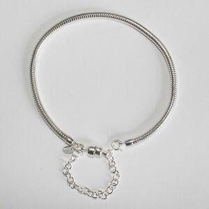 CHARM-BRACELET-19cm-7-5-034-3mm-MAGNETIC-CLASP-Solid-925-sterling-silver-European
