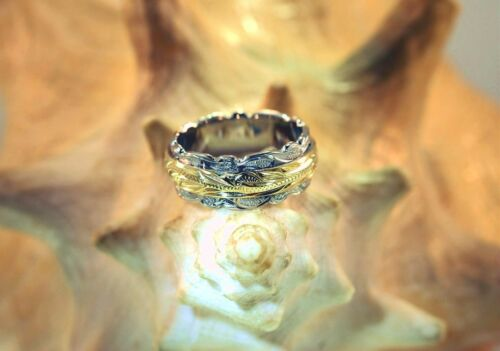 4//8MM HAWAIIAN RHODIUM YELLOW GOLD PLATED 925 SILVER ENGRAVED SCROLL DOUBLE RING